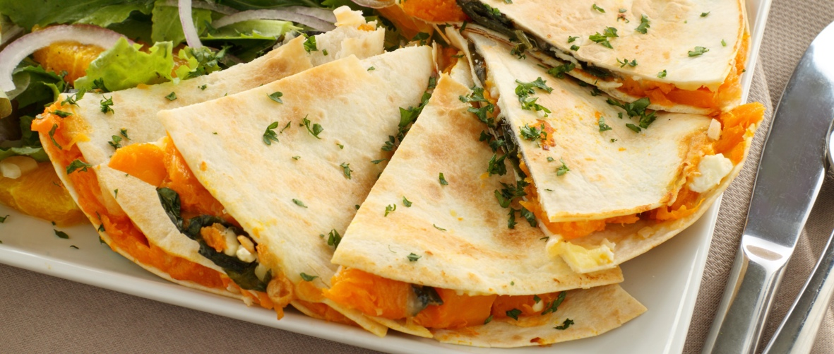 Pumpkin, black bean and caramelised red onion quesadillas