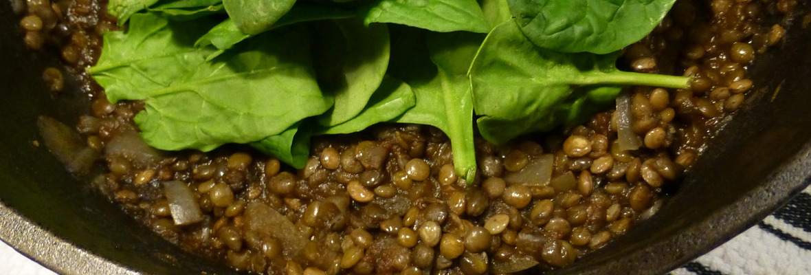 Spinach, lentil and chickpea curry