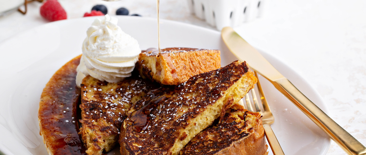 Banana Eggy Bread with Salted Caramel and Vanilla Whipped Cream