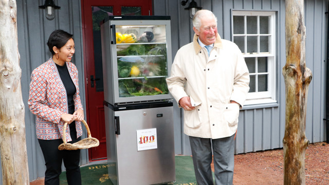HRH The Prince of Wales opens the 100th community fridge  at Dumfries House